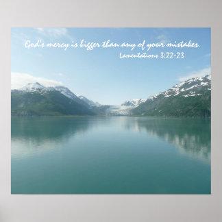 Alaskan Glaciers w/ Scripture verse of God's mercy Poster