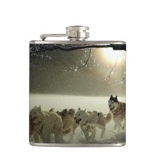 Alaskan Husky Dog Sled Race Hip Flask