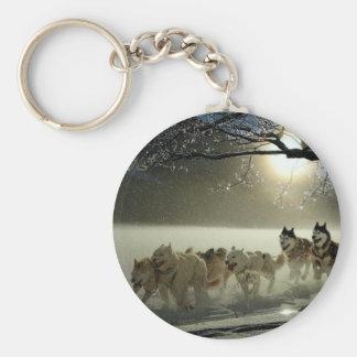 Alaskan Husky Dog Sled Race Key Ring