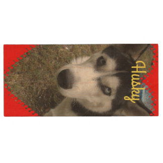 Alaskan Husky Maple, 8gb, Rectangle Wood USB Flash Drive