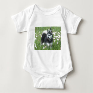 Alaskan Klee Kai Dog Plays In The Tulips Baby Bodysuit