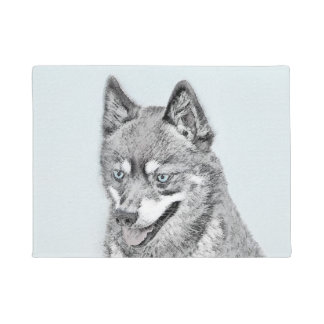 Alaskan Klee Kai Painting - Cute Original Dog Art Doormat