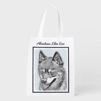 Alaskan Klee Kai Painting - Cute Original Dog Art Reusable Grocery Bag
