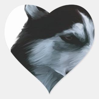 Alaskan Malamute Artwork Heart Sticker