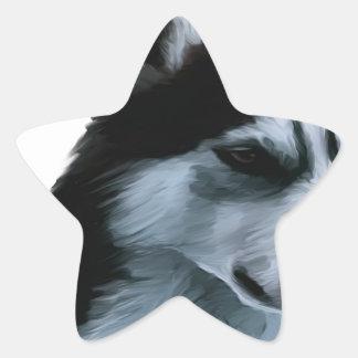 Alaskan Malamute Artwork Star Sticker