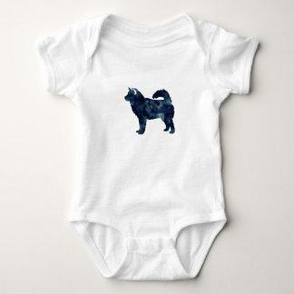 Alaskan Malamute Black Watercolor Silhouette Baby Bodysuit