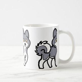 alaskan malamute blue and white cartoon coffee mug