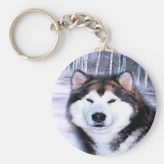 Alaskan Malamute Design by Artist SteJhourre Basic Round Button Key Ring