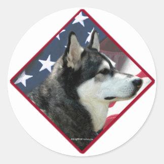 Alaskan Malamute Flag 2 Classic Round Sticker