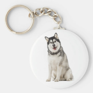 Alaskan Malamute Gray And Black Puppy Dog Key Ring
