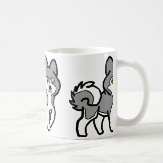 alaskan malamute gray and white cartoon coffee mug