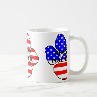 alaskan malamute name-flag paw coffee mug