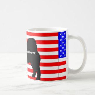 alaskan malamute name silo on flag coffee mug