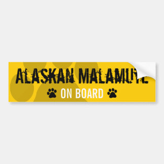 Alaskan Malamute on Board Bumper Sticker