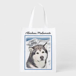 Alaskan Malamute Painting - Cute Original Art Reusable Grocery Bag