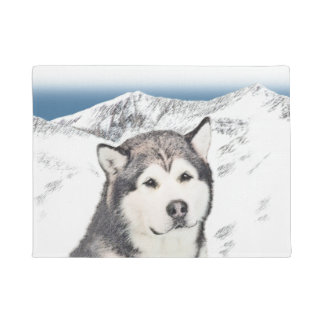 Alaskan Malamute Painting - Cute Original Dog Art Doormat
