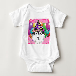 Alaskan Malamute Party Dog Baby Bodysuit