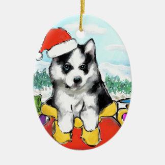 Alaskan Malamute Puppy Ceramic Ornament