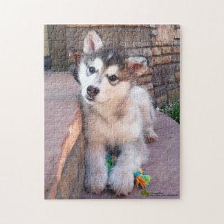 Alaskan Malamute Puppy Head Tilt Photograph Jigsaw Puzzle