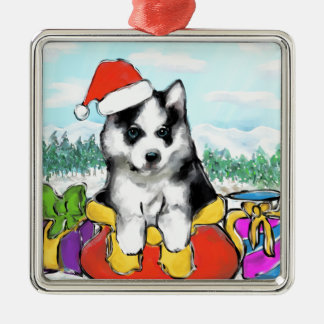 Alaskan Malamute Puppy Metal Ornament