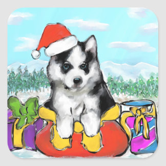 Alaskan Malamute Puppy Square Sticker