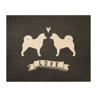 Alaskan Malamute Silhouettes Love Wood Print