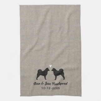Alaskan Malamute Silhouettes with Heart and Text Tea Towel