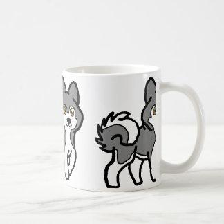 alaskan malamute silver and white cartoon coffee mug