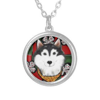 Alaskan-Malamute St. Patty Silver Plated Necklace