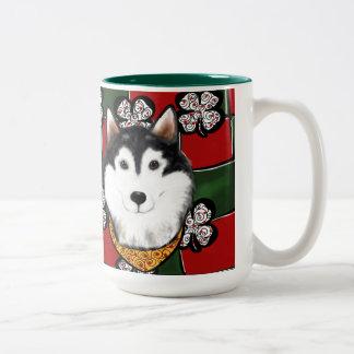 Alaskan-Malamute St. Patty Two-Tone Coffee Mug