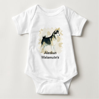 Alaskan Malamute ~ Tan Leaves Motiff Baby Bodysuit