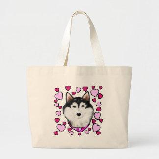 Alaskan-Malamute Valentine Large Tote Bag