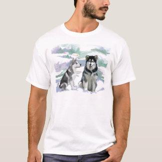 Alaskan Malamute Winter Scene T-Shirt
