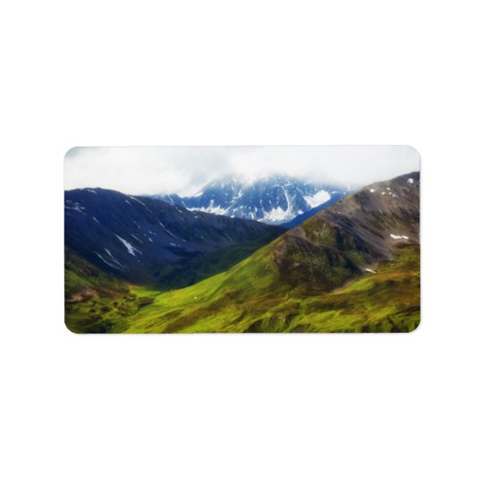 Alaskan Mountains Scene Label