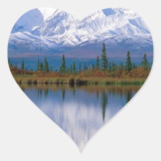 Alaskan Mountians Heart Sticker
