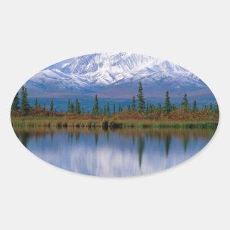 Alaskan Mountians Oval Sticker