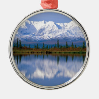 Alaskan Mountians Silver-Colored Round Decoration