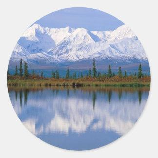 Alaskan Mountians Round Sticker