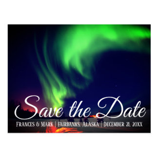 Alaskan Northern Lights Save the Date Postcard