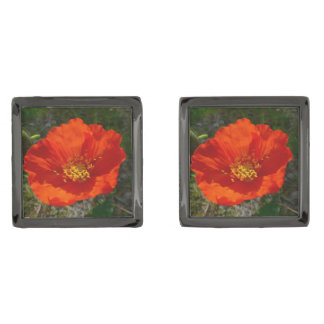 Alaskan Red Poppy Colorful Flower Gunmetal Finish Cuff Links