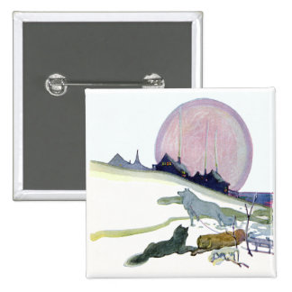 Alaskan Sled Dogs in the Snow Pinback Button