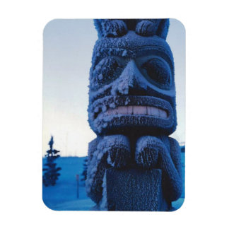 Alaskan Totem Pole Winter Night Photo Designed Magnet