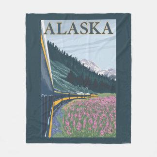 AlaskaRailroad and Fireweed Vintage Travel Fleece Blanket