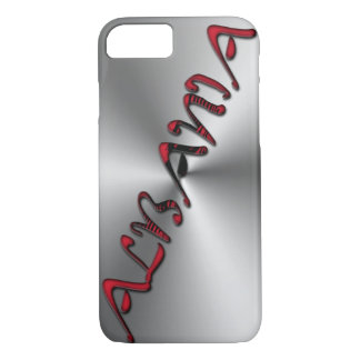 Albania Albanian Flag Color Typography Silver iPhone 7 Case
