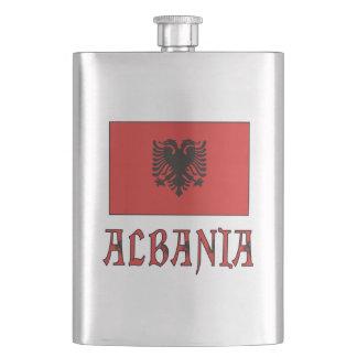 Albania Flag andWord Hip Flask