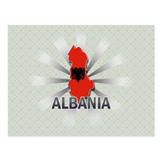 Albania Flag Map 2 0 Post Card
