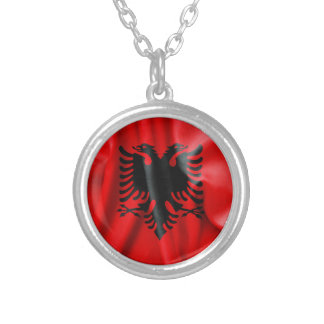 Albania Flag Round Pendant Necklace