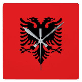 Albania Flag Square Wall Clock