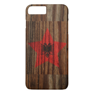 Albania Flag Star on Wood theme iPhone 7 Plus Case