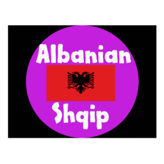 Albania Language And Flag Design Postcard